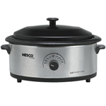 Nesco 4816-25pr-r 6 Qt Stainless Steel Porcelain Cookwell Blk Lid